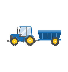 blue tractor with tank for transportation vector image vector image