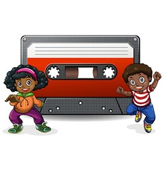 Boy and girl with casette tape vector image vector image