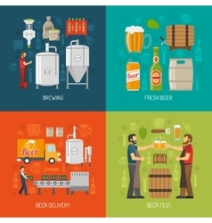 Brewery Concept Icons Set vector image vector image
