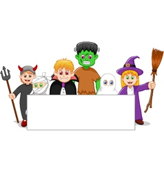 Cartoon halloween set character with blank sign vector