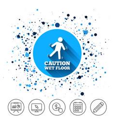 Caution wet floor icon human falling symbol vector