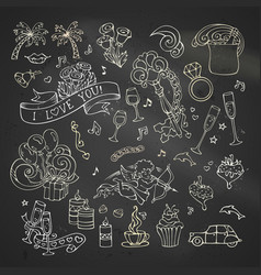 chalk set of love icons and signs vector image