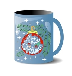 christmas mug vector image vector image