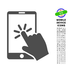click smartphone icon with set vector image