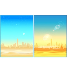 Desert morning and afternoon vector