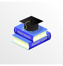 Education academic graduation cap and book vector
