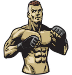 fighter pose vector image vector image