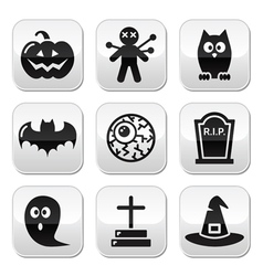 Halloween buttons set - pumpkin witch ghost vector image