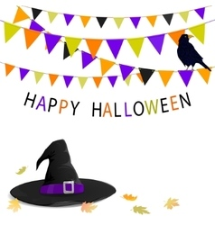 Halloween hat and buntings vector