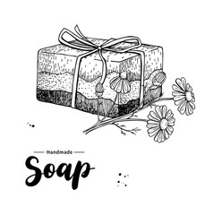 handmade natural soap hand drawn vector image vector image