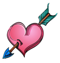 heart pierced by an arrow hand drawn sketch style vector image