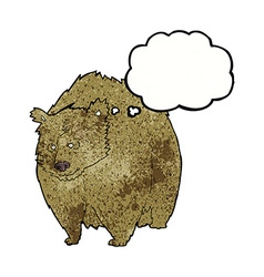 Huge bear cartoon with thought bubble vector