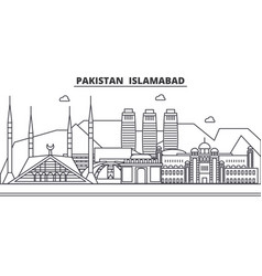 pakistan islamabad architecture line skyline vector image