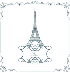 Paris eiffel tower vintage vector
