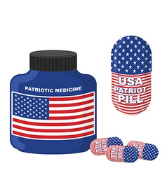 Patriotic medicine USA Pills with flag of America vector image vector image