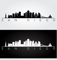 San diego usa skyline and landmarks silhouette vector