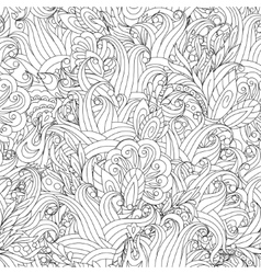 Seamless Monochrome Floral Pattern Hand vector image