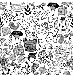 Seamless pattern with skulls in the forest vector