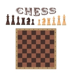 Set of chess figures piece and board vector