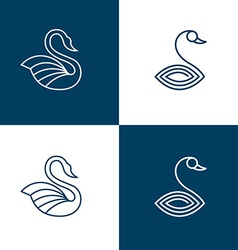 Set of swan logo templates vector image vector image