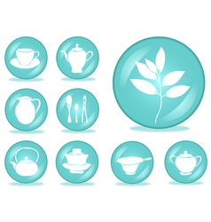 set of tea accessories vector image vector image