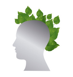 silver contour human with leaves icon vector image