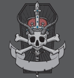 Skull king with crown vector