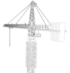 tower construction crane rendering of 3d vector image