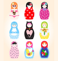 Traditional russian doll matryoshka toy nesting vector