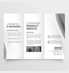 Tri-fold business brochure with elegant gray wave vector