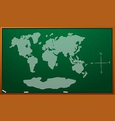 Worldmap on green board vector