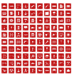 100 building materials icons set grunge red vector