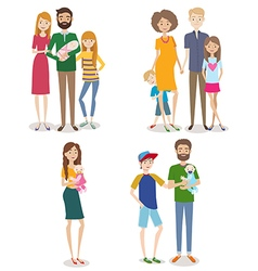 Set of people with family and kids vector