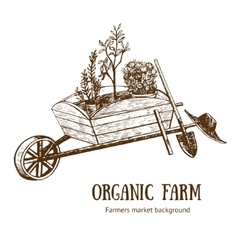 Garden cart organic farm hand draw sketch vector