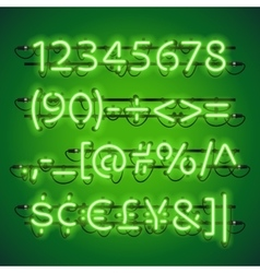 Glowing neon lime green numbers vector