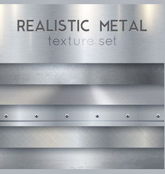 metal texture realistic horizontal samples set vector image