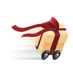 Fast present gift on wheels concept vector