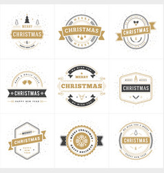 Set of merry christmas and happy new year vector