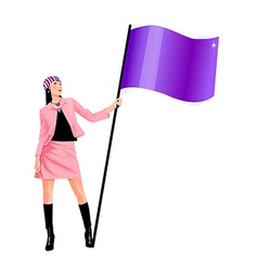 Flag bearing woman vector