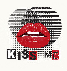 Decorative typography poster kiss me red lips on vector