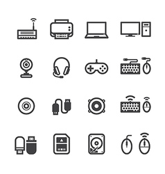 Computer Icons and and Computer Accessories Icons vector image