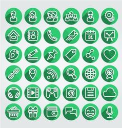 Flat icons social media round green set vector