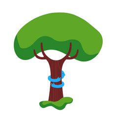 Tree hug children nature help concept vector