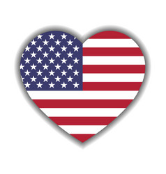 Usa flag in a shape of heart patriotic national vector