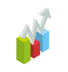 Graphic stats growing 3d vector