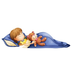 A young girl sleeping with a toy vector