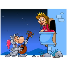 Knight in armor sings a serenade under the balcony vector