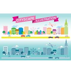 Colorful and monotone cityscape icon flat style ve vector