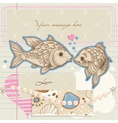 fish kiss vector image
