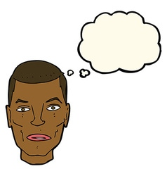 Cartoon serious male face with thought bubble vector